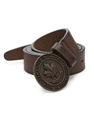 Maison Martin Margiela Leather Logo Belt Brown