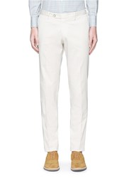 Isaia Cotton Slim Fit Chinos White