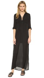 Haute Hippie Gypsy Maxi Shirtdress Black