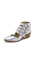 Toga Pulla Cutout Buckle Booties Silver