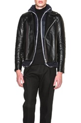 Sacai Shearling Insert Motorcycle Jacket In Black