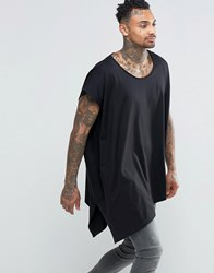 Asos Extreme Oversized Drape T Shirt With Scoop Neck And Asymmetric Hem In Black Black