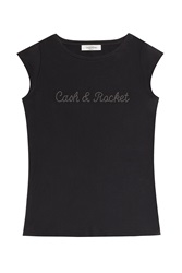 Valentino Valentino Cash And Rocket Embellished Cotton T Shirt Black