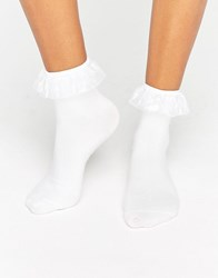 Monki Sheer Frill Socks White