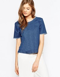 Pieces Denim Shirt With Frayed Neckline Blue