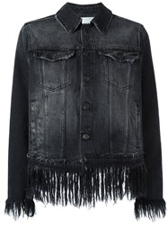 Msgm Fringed Cropped Denim Jacket Black