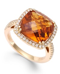 Macy's Citrine 6 Ct. T.W. And Diamond 1 3 Ct. T.W. Ring In 14K Gold Orange