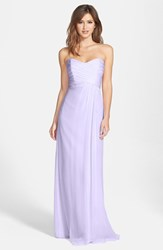 Women's Amsale Strapless Crinkle Chiffon Gown Lilac