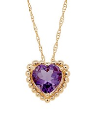Lord And Taylor Amethyst 14K Yellow Gold Beaded Heart Pendant Necklace Purple