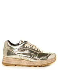 Stella Mccartney Macy Metallic Faux Leather Trainers Gold