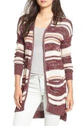 Billabong Women's 'Stripes Over You' Cardigan Mystic Maroon