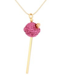 Sis By Simone I Smith 18K Gold Over Sterling Silver Necklace Medium Pink Crystal Lollipop Pendant