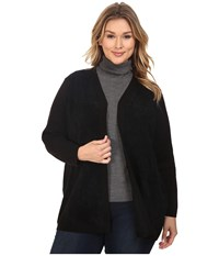 Calvin Klein Plus Size Cardigan W Suede Front Black Women's Sweater