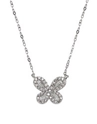 Lord And Taylor Diamond 14K White Gold Butterfly Pendant Necklace