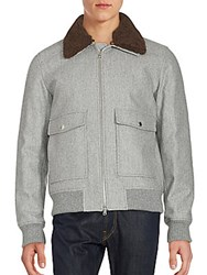 Brunello Cucinelli Fur Collar Wool Blend Jacket Grey