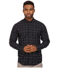 Publish Jemuel Jacquard Plaid On Long Sleeve Woven Navy Men's Long Sleeve Button Up