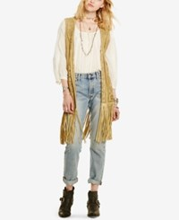 Denim And Supply Ralph Lauren Laser Cut Suede Vest Natural