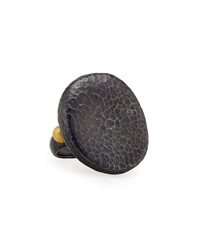 Gurhan Blackened Sterling Silver And 24K Hammered Ring 6 1 2