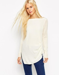 Asos Knitted Tunic Top With Woven Front Cream