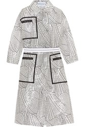 Vionnet Double Breasted Printed Voile Coat White