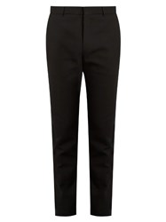 Balmain Satin Stripe Slim Leg Cotton Trousers Black