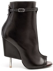 Givenchy Peep Toe Ankle Boots Black
