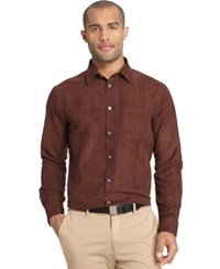 Van Heusen Long Sleeve Faux Suede Shirt Slate