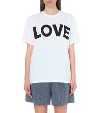 Katherine E Hamnet At Ymc Love Cotton Jersey T Shirt White W Black Print