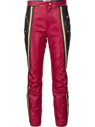 Chloe Leather Biker Trousers Red