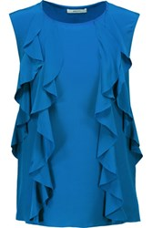 Bailey 44 Mabel Ruffled Silk Satin And Stretch Jersey Top Cobalt Blue