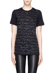 Lanvin 'I Love You' Cursive Bead Embroidery T Shirt Black