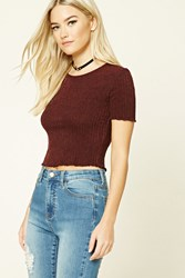 Forever 21 Ribbed Knit Crop Top Burgundy