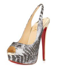 Lady Peep Slingback Red Sole Platform Pump Silver Light Gold Christian Louboutin