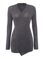 Vila Long Sleeved Wrap Waist Cardigan Grey