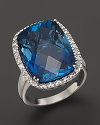 Bloomingdale's 14K White Gold Diamond And London Blue Topaz Cushion Ring
