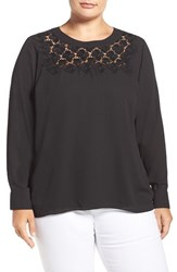 Vince Camuto Plus Size Women's Embroidered Lace Yoke Blouse