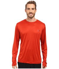 Mountain Hardwear Wicked L S Tee Dark Fire Men's Long Sleeve Pullover Orange