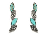 Lucky Brand Turquoise Pave Crawler Earrings Silver Earring
