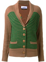 Muveil Shawl Lapel Knitted Cardigan Brown