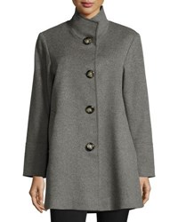 Fleurette Stand Collar Wool Cashmere Coat Grey