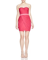 Aqua Ruched Strapless Dress Raspberry