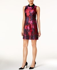 Ivanka Trump Collared Floral Print A Line Dress Red Pink