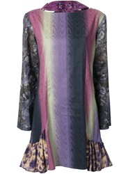 Jenny Fax Branded Collar Printed Shift Dress Pink And Purple
