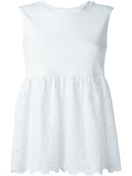 L'autre Chose Anglaise Broderie Flared Top White