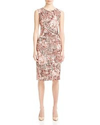 Nic Zoe Coral Streaks Abstract Print Dress Multi