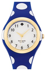 Kate Spade 'Rumsey' Plastic Strap Watch 30Mm Navy White Polka Dot