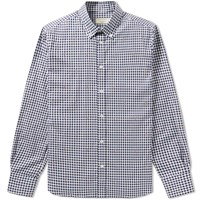 Maison Kitsune Button Down Fox Jacquard Shirt Blue