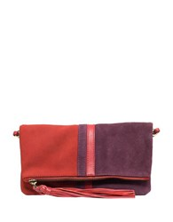 Sanctuary Leather Colorblock Convertible Clutch Curry Wine