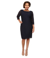 Adrianna Papell Plus Size 3 4 Sleeve Lace Dress Navy Women's Dress