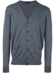 Z Zegna Button Down Cardigan Grey